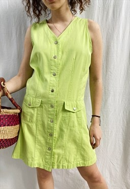 Vintage 90s Citrus Lime Parisian mini summer denim dress
