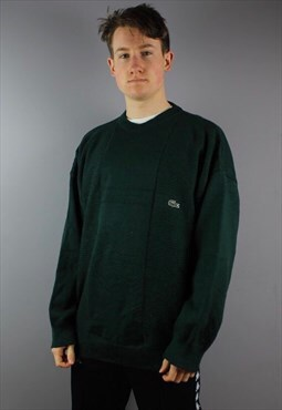 Vintage Lacoste Wool Sweatshirt in Green with embroidery