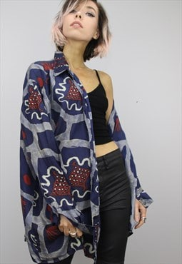 Vintage 80s/90s Oversized Patterned Silk Shirt