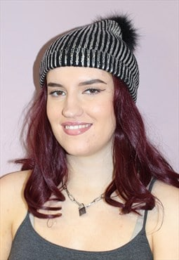 Vintage Metalic Silver Beanie Hat with Faux Fur Bobble