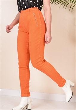 W24 Vintage High Waist Side Zip Jeans in Bright Orange 90s