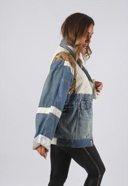 Vintage Denim Bomber Jacket Leather Oversized 8 XS (RBU)