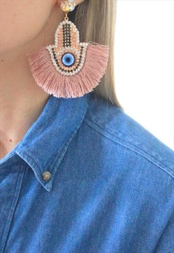Earrings Hand of Fatma fringe