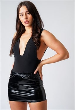 PVC Black High Waist Mini Skirt