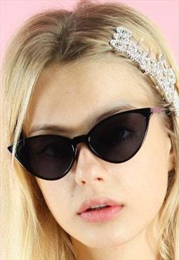 Vintage inspired Sunglasses Cat Eye 90s Y2K Black Oval