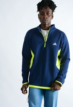 Vintage Adidas 1/4 Zip Sport Top In Blue
