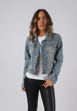 Denim Jacket Fitted Vintage Short Cropped UK 10 - 12 (DK4L)