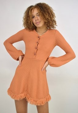 Vintage 90s Peach/Orange Knit Fringe Hem Button Dress