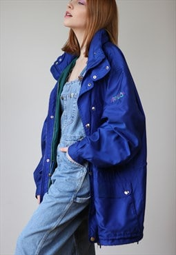 Vintage 80's Fila Magic Line Windbreaker Jacket in Navy Blue
