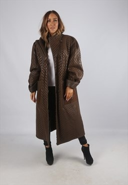 Vintage Sheepskin Suede Leather Shearling Coat Long (9BI)