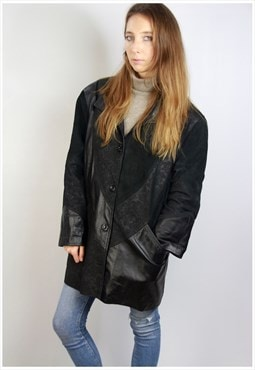 Black Leather Coat / Vintage Leather Coat