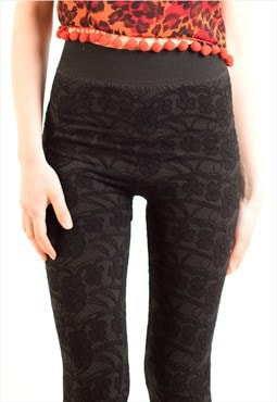 EXCEPTIONAL black Rose Floral lace pattern knitted leggings