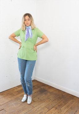 Vintage 70's Short Sleeves Blouse in Green with Collar