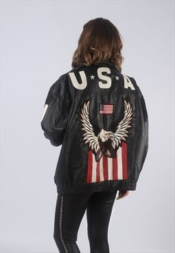 Vintage Leather Bomber Jacket USA Oversized UK 20 22 (LBCW)