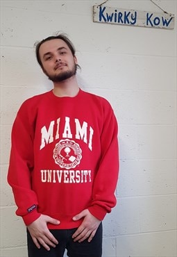 Vintage Red American University Sweater Size M