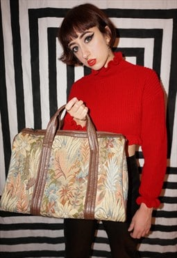 Vintage 70s Floral Tapestry Carpet Holdall Weekend Bag