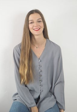 Vintage Grey Button Down Blouse