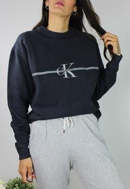 Vintage CK Calvin Klein Sweatshirt Jumper w Spell Out Logo