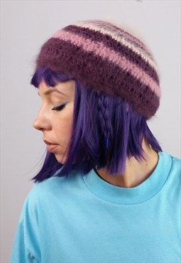 Vintage 90's Light Soft Wool Knit Purple Tones Hat