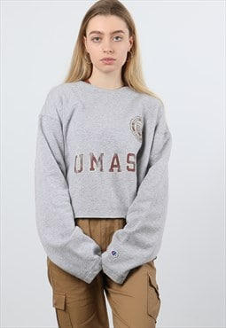 Vintage Champion L Grey Cropped Print Sweatshirt