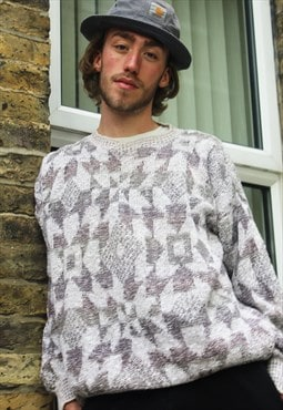 Vintage / 80's / White Patterned Jumper