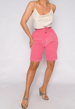 Vintage Pink Cotton 80's Corduroy Shorts
