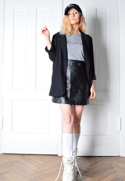 RARE CACHAREL Vintage 90s Black Faux Leather Skirt