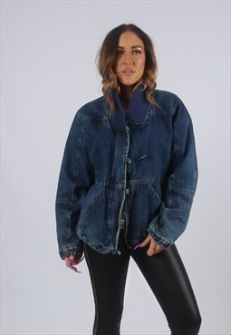 Vintage Denim Bomber Jacket Oversized Fitted UK 14 (KBM)