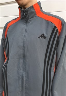 Mens Adidas jacket orange grey sports top festival zipper