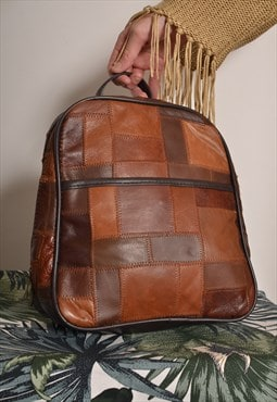 Vintage 70s Backpack in Brown Patchwork Leather