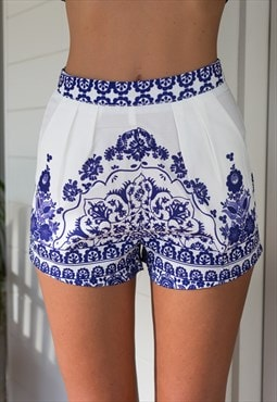 Blue Porcelain Patterned Shorts