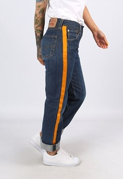 Levis 501's Denim Jeans REWORKED Side Stripe UK 8 - 10 (H3AA