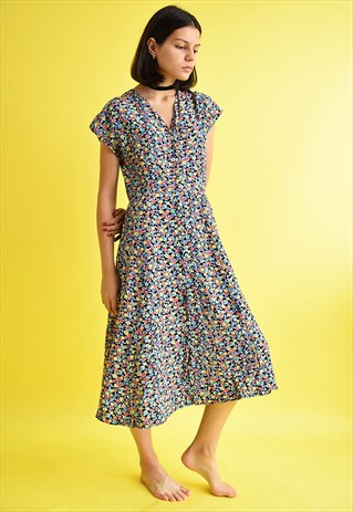 CUTE VINTAGE 90'S RETRO FLORAL PATERN MAXI DRESS