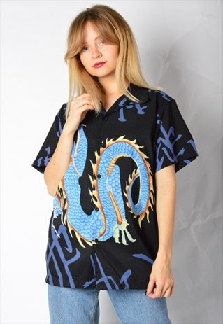VINTAGE 90S BLACK BLUE DRAGON SHIRT
