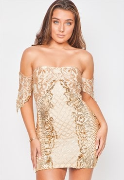 Rumour vip nude gold bardot sequin mini bodycon party dress