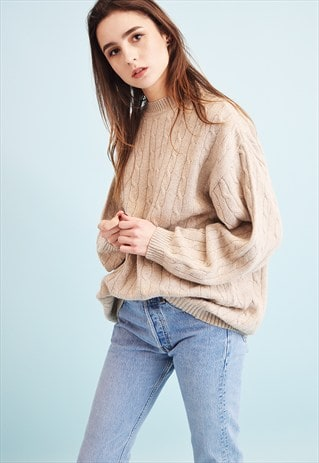 90'S RETRO ARAN STYLE NEUTRAL KNIT OVERSIZED DADS JUMPER TOP