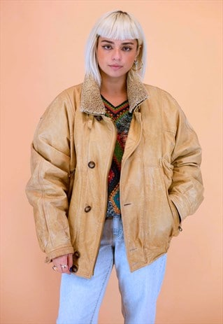 Vintage Sheepskin Aviator Leather Beige Jacket