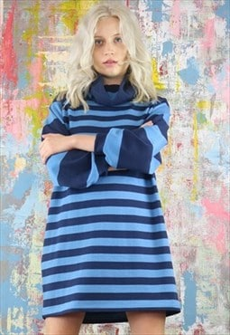 Oversized Mini Dress in blue stripes with funnel neck