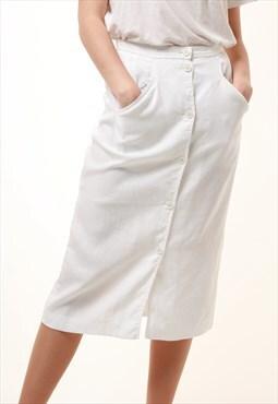 90s Vintage Valentino Linen Midi Pencil Skirt 840