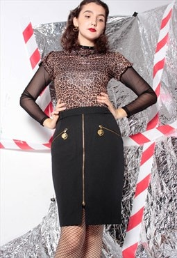Black high waist gold sun moon zodiac zip mini skirt 80s