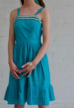 50s Turquoise Cotton Sundress with Pom Pom Detailing