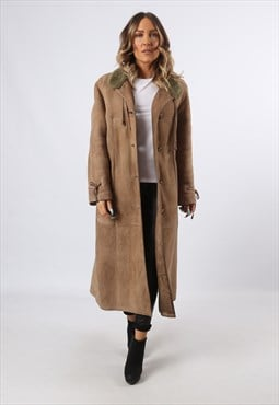 Sheepskin Suede Shearling Coat Jacket Long UK 14 (LHCQ)