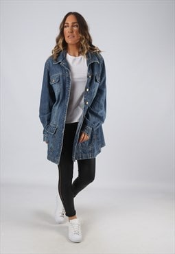 Denim Jacket Long Oversized Longline Vintage UK 24 (HK7V)