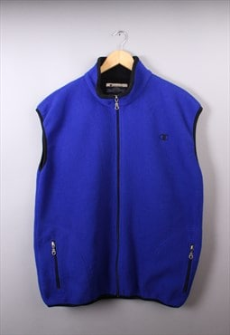 Mens Vintage Champion Blue Fleece Gilet/Body Warmer Jacket