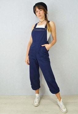 French Workwear Dungarees Navy Blue Overalls Bibs