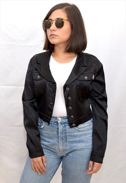 Vintage Moschino black satin cropped jacket