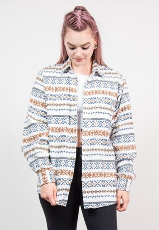 VINTAGE 90'S WHITE AZTEC PATTERN THICK FLANNEL SHIRT