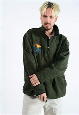 Vintage Timberland 1/4 zip fleece green with logo.