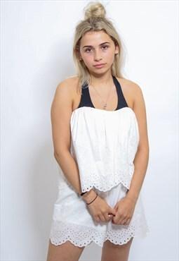 Vintage Off the Shoulder Lace Playsuit Jumpsuit White Small