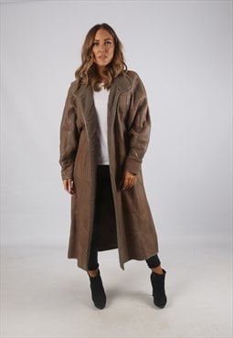 Vintage Sheepskin Leather Shearling Coat Long UK 14 (9AM)